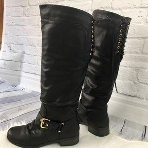 XOXO Marchers  knee high black vegan leather boots